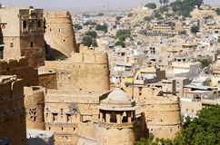 View of golden Jaisalmer from city fort in Rajasthan,India,Asia Stock Photos