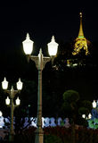 View of the golden mount temple. Night scene of ancient pagoda in thailand Royalty Free Stock Photo