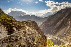 Golden peak in Hunza valley, Pakistan stock images