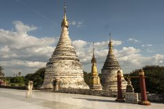 View of the golden Shwezigon Pagoda, Bagan. Panoramic View of the archaeological park of the ancient temples and pagodas of Bagan. Myanmar royalty free stock photo