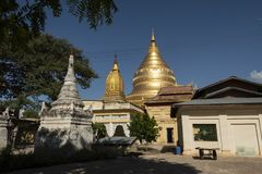View of the golden Shwezigon Pagoda, Bagan. Panoramic View of the archaeological park of the ancient temples and pagodas of Bagan. Myanmar royalty free stock photos