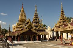 View of the golden Shwezigon Pagoda, Bagan. Panoramic View of the archaeological park of the ancient temples and pagodas of Bagan. Myanmar stock photography