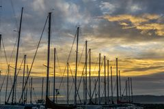 Masts At Sunset. A view of a golden sunset behind boat masts royalty free stock image