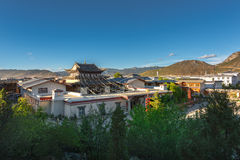 View of the golden temple in historical old town in chinese city shangri-la alias zhongdian Royalty Free Stock Photos