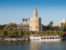 View of Golden Tower (Torre del Oro) of Seville Stock Photography