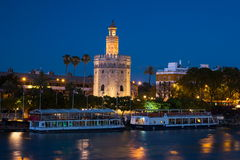 View of Golden Tower, Torre del Oro, of Seville, Andalusia, Spai royalty free stock images