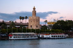 View of Golden Tower, Torre del Oro, of Seville, Andalusia, Spai stock image