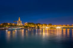 View of Golden Tower, Torre del Oro, of Seville, Andalusia, Spai royalty free stock photography