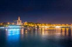 View of Golden Tower, Torre del Oro, of Seville, Andalusia, Spai stock photography