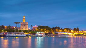 View of Golden Tower, Torre del Oro, of Seville, Andalusia, Spain stock video footage