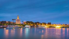 View of Golden Tower, Torre del Oro, of Seville, Andalusia, Spain stock video