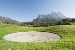 View of golf course with bunker Stock Images