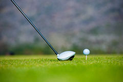 View of a golfer teeing off from a golf tee Stock Photos