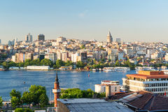 View of the Golgen Horn and Galata district at sunset, Istanbul Stock Image