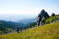 Landscape of Goliat rock formation in Ciucas Mountains, Romanian Carpathians. View of Goliat, amazing rock formation of Ciucas Mountains, part of the wild Royalty Free Stock Photography