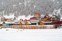 View of Goloustnoye Village in the winter Stock Photo