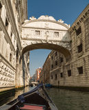 View from Gondola of Bridge of Sighs in Venice Stock Images