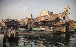 View on gondola`s shipyard in Venice Royalty Free Stock Images