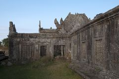 View of Gopura IV courtyard with carved colonettes at the 11th century Preah Vihear Temple royalty free stock photo