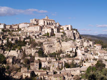 View at Gordes. The famous city of the Provence, France - one of the most beautiful French villages, standing on the edge of the plateau of Vaucluse Royalty Free Stock Photo