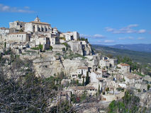 View at Gordes, France. View at Gordes, the famous city of the Provence, France - one of the most beautiful French villages, standing on the edge of the plateau Stock Photos