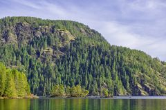 View of Gordon Bay in Cowichan Lake during the fall, BC, Canada stock photo