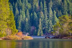 View of Gordon Bay in Cowichan Lake during the fall, BC, Canada stock images
