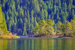 View of Gordon Bay in Cowichan Lake during the fall, BC, Canada royalty free stock photo