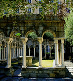 View of the gothic arches of the antique cloister of St. Andrew Royalty Free Stock Images