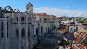 View of Gothic Carmo Church and Convent in Lisbon, ruined by earthquake, history. Stock footage stock video