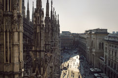 View from the gothic cathedral Duomo di Milano, Italy. royalty free stock photography