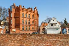 View on gothic city walls, Torun, Poland. Torun, Poland - 05 April, 2014: View on gothic city walls. The medieval old town is a UNESCO World Heritage Site Stock Photos