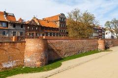 View on gothic city walls, Torun, Poland. Torun, Poland - 05 April, 2014: View on gothic city walls. The medieval old town is a UNESCO World Heritage Site Royalty Free Stock Photos