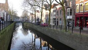 View of the Gouwe canal in Gouda, The Netherlands stock video