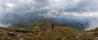 A view from Goverla. Descending from Goverla to Petros mount, Carpathians Royalty Free Stock Image