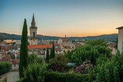 View of the graceful town of Draguignan from the hill of the clock tower. Stock Photos