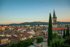 View of the graceful town of Draguignan from the hill of the clock tower. Royalty Free Stock Images