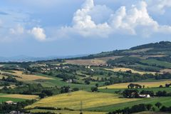 View of Gradara countryside, Italy stock images