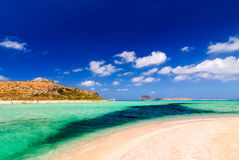 View of the Gramvousa island from Balos Beach Royalty Free Stock Photo