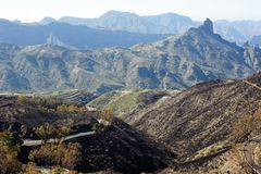 View on Gran Canaria mountains. And twisty road from village Crus de Tejede, Spain, Barranco de Tejeda royalty free stock images