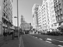 View the Gran Via of Madrid. Royalty Free Stock Photos