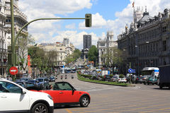 View of Gran Via, May 10, 2013, in Madrid, Spain. Stock Image