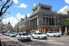 View of Gran Via, May 10, 2013, in Madrid, Spain. Stock Photos