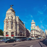 View of Gran Via street with cars and people in Stock Photo
