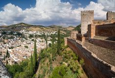 View of Granada from the Alhambra. Panoramic view of the Alhambra in Granada. Views of Granada, Sacromonte and Albaicin Stock Photos