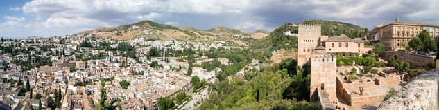 View of Granada from the Alhambra. Panoramic view of the Alhambra in Granada. Views of Granada, Sacromonte and Albaicin Stock Photo