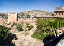 View of Granada from the Alhambra. Panoramic view of the Alhambra in Granada. Views of Granada, Sacromonte and Albaicin Royalty Free Stock Photos