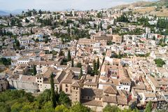 View of Granada from the Alhambra. Panoramic view of the Alhambra in Granada. Views of Granada, Sacromonte and Albaicin Royalty Free Stock Image