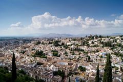 View of Granada from the Alhambra. Views of Granada, Sacromonte and Albaiciniew of the Alhambra in Granada Stock Images