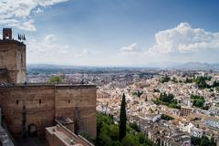 View of Granada from the Alhambra. Views of Granada, Sacromonte and Albaiciniew of the Alhambra in Granada Royalty Free Stock Photo